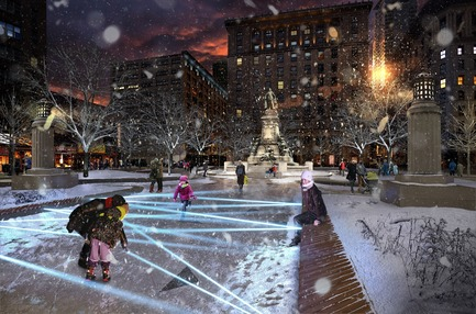 Press kit | 952-28 - Press release | Sainte-Catherine St. West, Phillips Square and Place du Frère-André: uniting past and present - Provencher_Roy - Urban Design - Square Philips in winter - Photo credit: Provencher_Roy