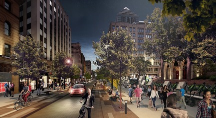 Press kit | 952-28 - Press release | Sainte-Catherine St. West, Phillips Square and Place du Frère-André: uniting past and present - Provencher_Roy - Urban Design - Sainte-Catherine St. West, westbound, in front of Christ Church Cathedral, by night - Photo credit: Provencher_Roy