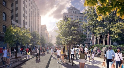 Press kit | 952-28 - Press release | Sainte-Catherine St. West, Phillips Square and Place du Frère-André: uniting past and present - Provencher_Roy - Urban Design - Sainte-Catherine St. West, westbound, in front of Christ Church Cathedral, by day - Photo credit: Provencher_Roy