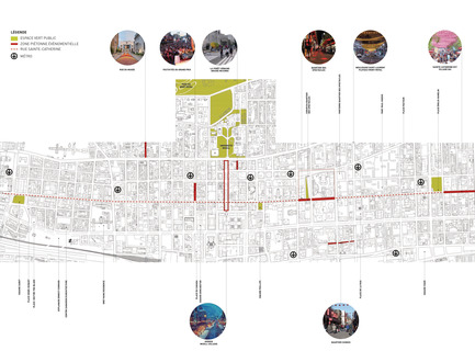 Press kit | 952-28 - Press release | Sainte-Catherine St. West, Phillips Square and Place du Frère-André: uniting past and present - Provencher_Roy - Urban Design - Plan of Sainte-Catherine St. West crossing downtown Montreal (french only) - Photo credit: Provencher_Roy