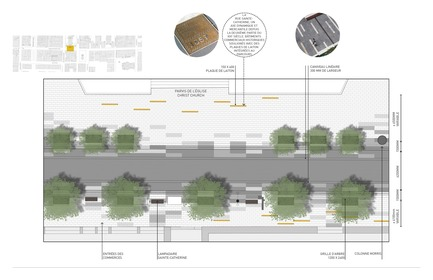 Press kit | 952-28 - Press release | Sainte-Catherine St. West, Phillips Square and Place du Frère-André: uniting past and present - Provencher_Roy - Urban Design - Plan of Sainte-Catherine St. West in front of Christ Church Cathedral (french only) - Photo credit: Provencher_Roy