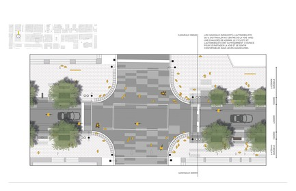 Press kit | 952-28 - Press release | Sainte-Catherine St. West, Phillips Square and Place du Frère-André: uniting past and present - Provencher_Roy - Urban Design - Plan of Sainte-Catherine Street West at the intersection of Robert-Bourassa Boulevard (french only) - Photo credit: Provencher_Roy