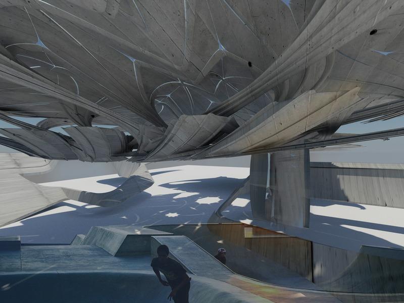Dossier de presse   2121-12 - Communiqué de presse   ECO CREMATION - Holographic Recycling Crematorium - Margot Krasojević Architects - Architecture industrielle - Zoetrope landscape underpass - Crédit photo : Margot Krasojević