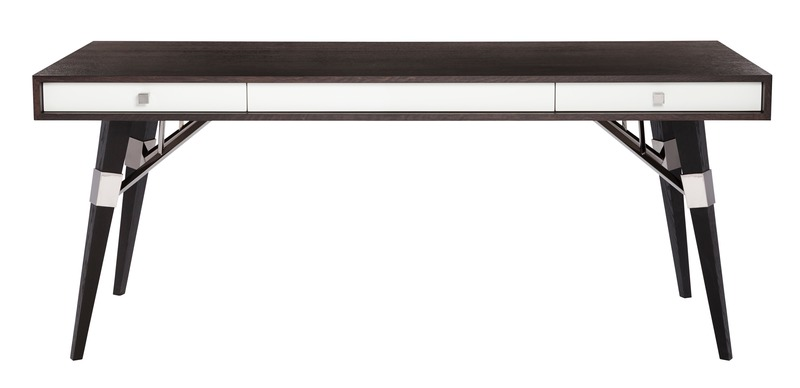 "Dossier de presse | 3701-01 - Communiqué de presse | Powell & Bonnell Launch 10 New Products - Powell & Bonnell - Produit - <p class="""">Atwood Desk</p>  <p class="""" style=""""> <br></p>  <p class="""">This writing table has a stand-alone pedigree. Tapered wood legs featuring unique architectural truss-work holds aloft a waterfall wood top, with inset lacquered apron &amp; pencil drawers. </p>    <p class=""""><br></p> - Crédit photo : Margaret Mulligan"