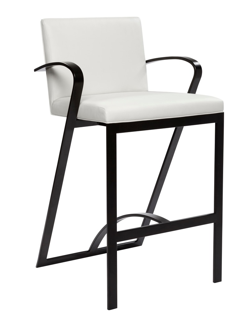 "Dossier de presse | 3701-01 - Communiqué de presse | Powell & Bonnell Launch 10 New Products - Powell & Bonnell - Produit - <p class="""">Impala Bar Stool</p><p class=""""><br></p> A spacious serene metal frame arm stool with upholstered seat and back - Crédit photo : Margaret Mulligan"