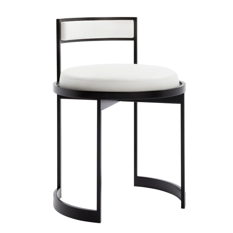 "Dossier de presse | 3701-01 - Communiqué de presse | Powell & Bonnell Launch 10 New Products - Powell & Bonnell - Produit -  <p class="""" style="""">Nobi Vanity Stool</p><p class="""" style=""""><br></p> <p class="""">Designed by Powell &amp; Bonnell's Kiyoshi Sakurai</p><p class="""">Contemporary metal frame swivel vanity stool with cushion seat and backrest.  </p>  - Crédit photo : Margaret Mulligan"