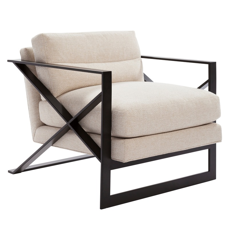 "Press kit | 3701-01 - Press release | Powell & Bonnell Launch 10 New Products - Powell & Bonnell - Product - <p class="""">Exalto Lounge Chair</p>  <p class=""""><br></p>  <p class="""">Contemporary upholstered lounge chair with a cantilevered metal frame, featuring an asymmetrical ""X"" side detail and integrated backrest handle.</p> - Photo credit: Margaret Mulligan"