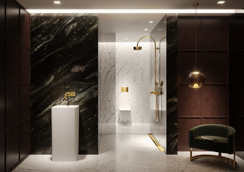 Dossier de presse | 2704-08 - Communiqué de presse | It's time for more colour in the bathroom! - German Sanitary Industry Association / Vereinigung Deutsche Sanitärwirtschaft e.V. [VDS] - Évènement + Exposition - <p>Trend No. 3: Gold - TECEsquare flush plate and the TECEdrainprofile shower channel</p><p><br></p><p>Golden treasures: Modern bathrooms are increasingly turning into personalised retreats with a feel-good factor – and colour is returning to the bathroom too. To promote this trend, TECE is expanding its extensive selection of finishes with the addition of various metallic surfaces for the TECEsquare flush plate and the TECEdrainprofile shower channel. </p> - Crédit photo : TECE