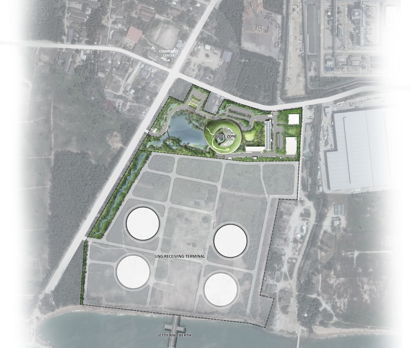 Dossier de presse | 4015-01 - Communiqué de presse | Nong Fab LNG Receiving Terminal - TK Studio Co.,Ltd. - Architecture de paysage -  Overall Masterplan - Crédit photo : TK Studio, Google Earth