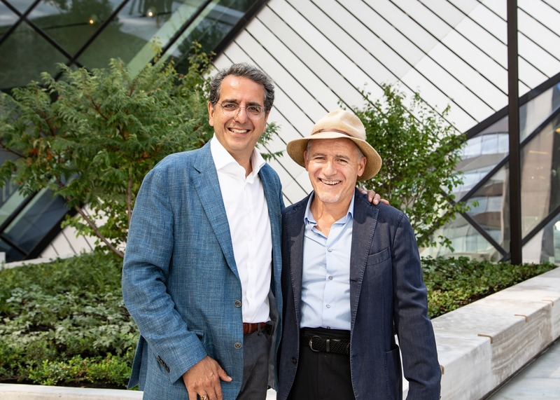 Press kit | 907-09 - Press release | ROM Welcome Project - Hariri Pontarini Architects - Institutional Architecture - Siamak Hariri and Ron Holbrook standing infront of planters on the Reed Family Plaza. - Photo credit: Hariri Pontarini Architects