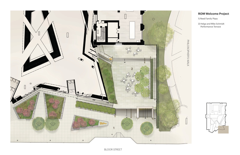 Press kit | 907-09 - Press release | ROM Welcome Project - Hariri Pontarini Architects - Institutional Architecture - Site Plan of the Helga and Mike Schmidt Performance Terrace and the Reed Family Plaza. - Photo credit: Hariri Pontarini Architects