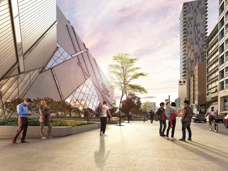 Press kit | 907-09 - Press release | ROM Welcome Project - Hariri Pontarini Architects - Institutional Architecture - Rendering of the Reed Family Plaza facing west. - Photo credit: Hariri Pontarini Architects
