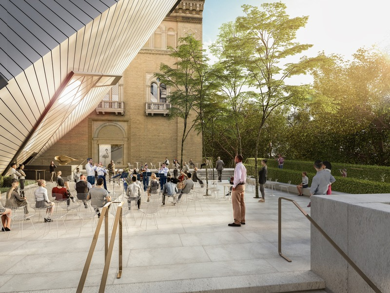 Press kit | 907-09 - Press release | ROM Welcome Project - Hariri Pontarini Architects - Institutional Architecture - Helga and Mike Schmidt Performance Terrace rendered view south.  - Photo credit: Hariri Pontarini Architects