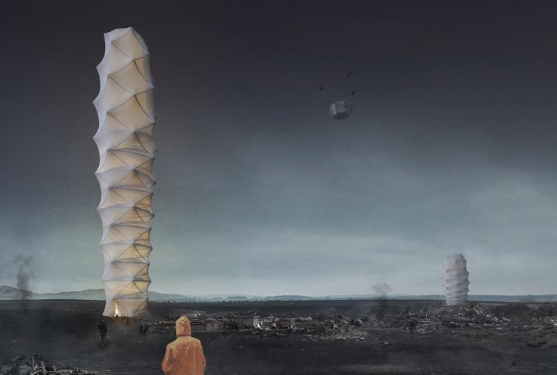 Press kit | 1127-15 - Press release | 2020 Skyscraper Competition - eVolo Magazine - Competition - 2018 Winner - Skyshelter.zip - Photo credit: eVolo Magazine. Damian Granosik, Jakub Kulisa, Piotr Pańczyk