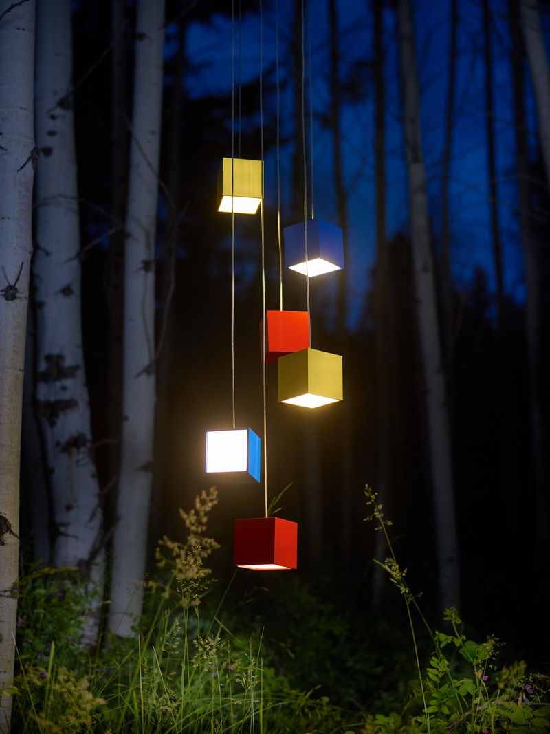 Press kit | 3412-03 - Press release | Cube Light - Karice - Lighting Design - Cube Pendant Light - Shot in a grove of Birch Trees - Photo credit: Jordan N. Dery