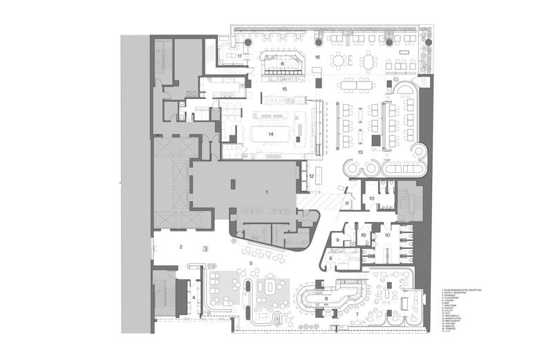 Dossier de presse | 1301-01 - Communiqué de presse | Nouveau restaurant MARCUS du Four Seasons Hôtel Montréal - Atelier Zébulon Perron - Design d'intérieur commercial - Plan - Crédit photo : Atelier Zébulon Perron