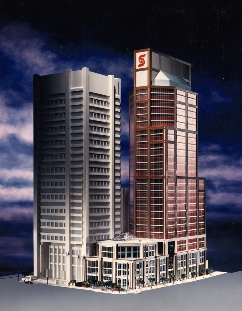 Press kit | 916-15 - Press release | René Menkès (1932-2019) - Menkès Shooner Dagenais LeTourneux Architectes - Institutional Architecture - Scotia Tower model - Photo credit: MSDL Architectes Archives