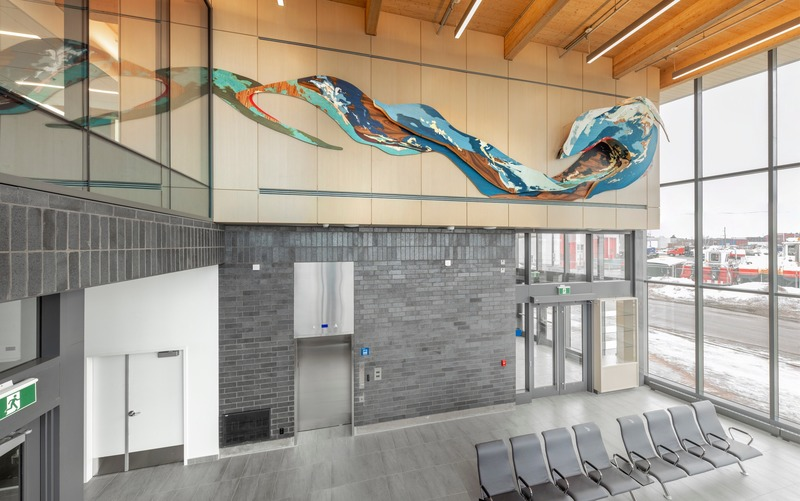 "Press kit | 746-05 - Press release | Affluents - Yechel Gagnon - Art - <p>Art and Architecture Integration Policy</p><p>Sorel-Tracy Marine Terminal</p><p style="""">Architects Gagnon Letellier Cyr Ricard Mathieu &amp; Associates<br></p><p style=""""><br style=""""></p> - Photo credit: Marc Cramer<br>"