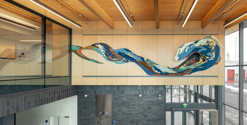 "Press kit | 746-05 - Press release | Affluents - Yechel Gagnon - Art - <p>Affluents, 2019</p><p>Plywood, tinted and natural veneers with gold, copper, aluminum leaves and stainless steel</p><p>387"" x 95"" x 24"" / 983 x 241 x 61 cm<span lang=""EN-CA""></span><br></p><p><br></p><br style=""""> - Photo credit: Marc Cramer<br>"