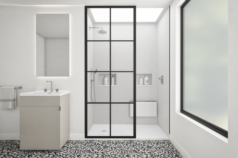 Press kit | 2342-07 - Press release | FEEL the difference: WETSTYLE's collection of customizable shower bases lay textured luxury at your feet - WETSTYLE - Industrial Design -  Shower base FEEL - White Concrete  - Photo credit: WETSTYLE
