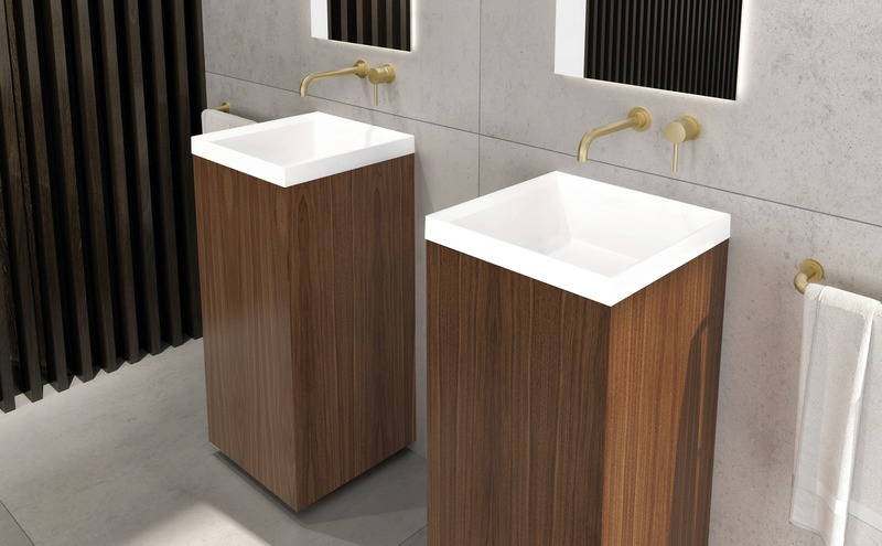 Press kit | 2342-06 - Press release | Relaxation Redefined - WETSTYLE'S fresh new Collections are what Dreams are Made of - WETSTYLE - Industrial Design -  STELLÉ pedestal (Walnut Natural No Calico) + LAB Drop-in Lavatory  - Photo credit: WETSTYLE