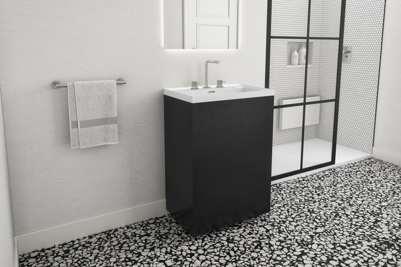 Press kit | 2342-06 - Press release | Relaxation Redefined - WETSTYLE'S fresh new Collections are what Dreams are Made of - WETSTYLE - Industrial Design -  STELLÉ pedestal (Oak Black) + LAB Drop-in Lavatory  - Photo credit: WETSTYLE