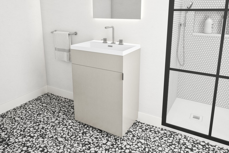 Press kit | 2342-06 - Press release | Relaxation Redefined - WETSTYLE'S fresh new Collections are what Dreams are Made of - WETSTYLE - Industrial Design -  STELLÉ pedestal (Oak Stone Harbour Grey) + LAB Drop-in Lavatory  - Photo credit: WETSTYLE