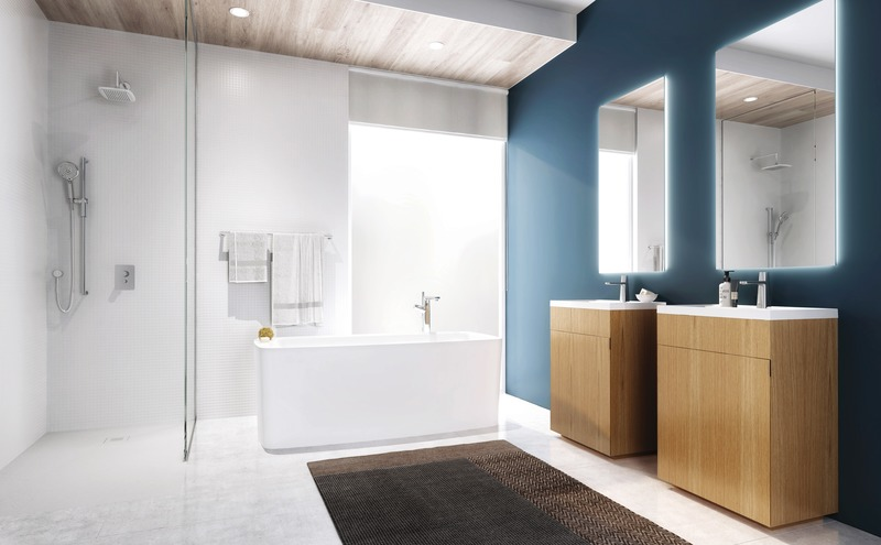 Press kit | 2342-06 - Press release | Relaxation Redefined - WETSTYLE'S fresh new Collections are what Dreams are Made of - WETSTYLE - Industrial Design -   LAB 2 Bathtub & STELLÉ pedestal (Oak Natural) + LAB Drop-in Lavatory   - Photo credit: WETSTYLE