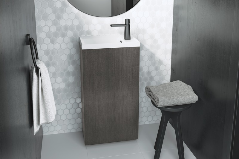 Press kit | 2342-06 - Press release | Relaxation Redefined - WETSTYLE'S fresh new Collections are what Dreams are Made of - WETSTYLE - Industrial Design -  STELLÉ pedestal (Oak Smoked) + LAB Drop-in Lavatory  - Photo credit: WETSTYLE