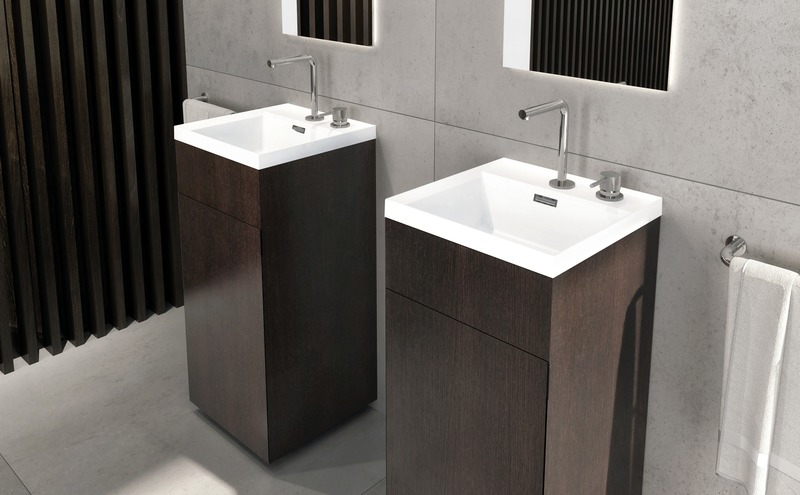 Press kit | 2342-06 - Press release | Relaxation Redefined - WETSTYLE'S fresh new Collections are what Dreams are Made of - WETSTYLE - Industrial Design -  STELLÉ pedestal (Oak Coffee Bean) + LAB Drop-in Lavatory  - Photo credit: WETSTYLE