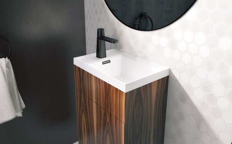Press kit | 2342-06 - Press release | Relaxation Redefined - WETSTYLE'S fresh new Collections are what Dreams are Made of - WETSTYLE - Industrial Design -  STELLÉ pedestal (Walnut Natural) + LAB Drop-in Lavatory  - Photo credit: WETSTYLE