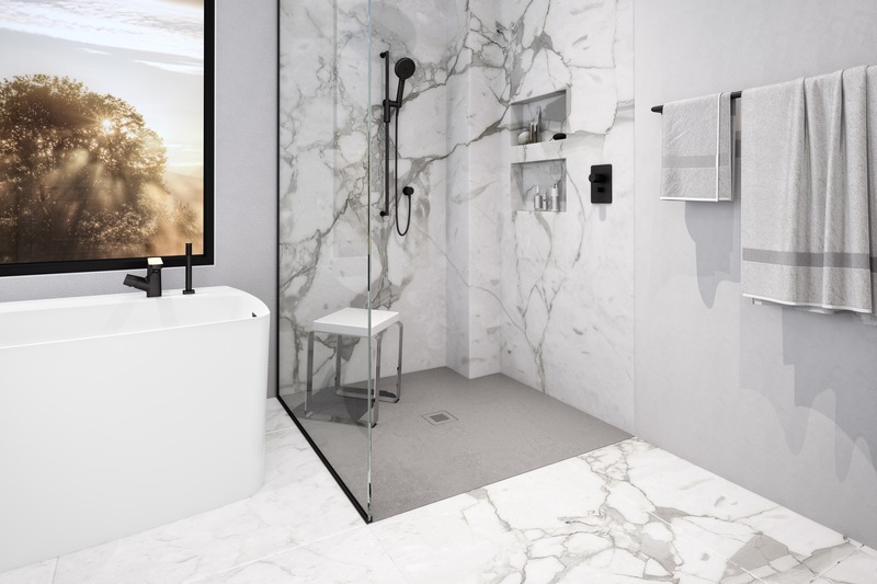 Press kit | 2342-07 - Press release | FEEL the difference: WETSTYLE's collection of customizable shower bases lay textured luxury at your feet - WETSTYLE - Industrial Design -  Shower base FEEL - Grey Concrete  - Photo credit: WETSTYLE