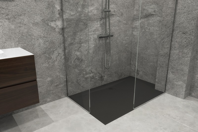 Press kit | 2342-07 - Press release | FEEL the difference: WETSTYLE's collection of customizable shower bases lay textured luxury at your feet - WETSTYLE - Industrial Design - Shower base FEEL - Black Slate   - Photo credit: WETSTYLE