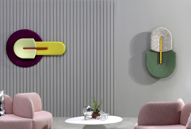 "Press kit | 2704-09 - Press release | ""A la Fresca"" - Merging Indoors and Outdoors - imm cologne 2020, Koelnmesse GmbH - Event + Exhibition - <p>Beetle, designed by MUT for Sancal, is a decorative but functional design piece, which works as an acoustic panel. The five basic shapes can be combined in any way by the customer, up to three panels can be attached to the same base. Considering the diversity of textiles, colors and shapes the possibilities of combinations seem nearly endless, like the biodiversity of beetles by which this product is inspired.</p> - Photo credit: <p>Sancal<span></span><span lang=""EN-US""></span></p>"