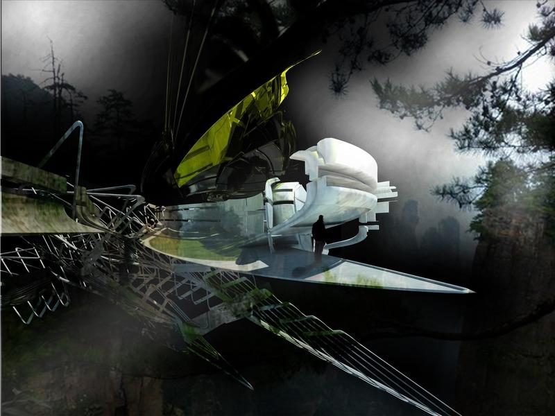 Press kit | 2121-13 - Press release | Piezoelectric pendulum bridge - Margot Krasojević Architects - Landscape Architecture - Reflective carbon fibre aluminium composite canopy - Photo credit: Margot Krasojević