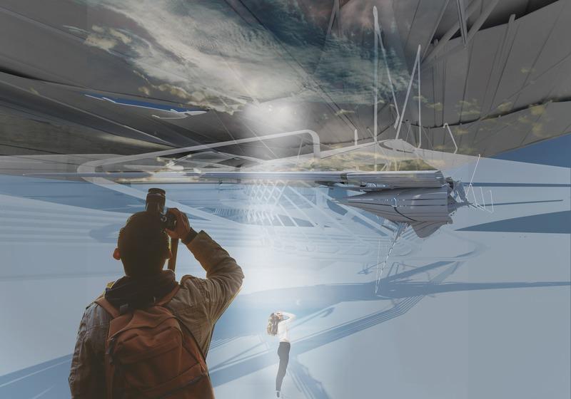 Press kit | 2121-13 - Press release | Piezoelectric pendulum bridge - Margot Krasojević Architects - Landscape Architecture - Hang glider view of inertia bridge canopy - Photo credit: Margot Krasojević