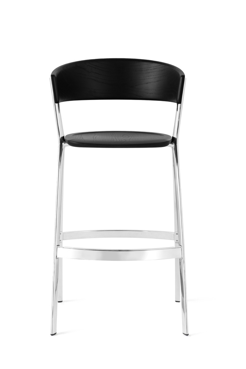 Press kit | 4129-01 - Press release | EDITS -         A New Era of Affordable High-Design - EDITS - Product - Circus Barstool. Black Ash with incredible mirror-polished frame. - Photo credit: EDITS 2019