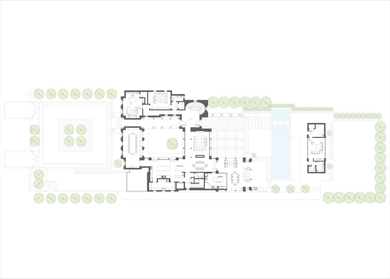 Press kit | 2185-07 - Press release | Villa Cortile - Audax - Residential Architecture - The Villa Cortile floor plan, including landscaping and terraces. - Photo credit: Audax Architecture