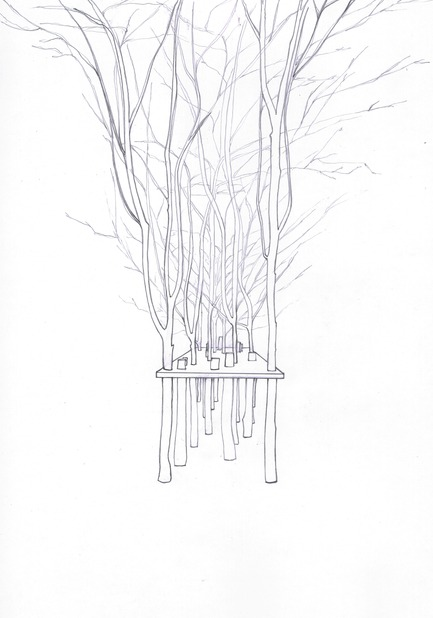 Press kit | 962-01 - Press release | The fantasies of Charles, his table and his guests - Charles Kaisin - Product - La table arbre surréaliste - Dessin