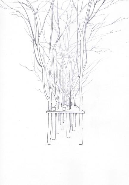 Dossier de presse | 962-01 - Communiqué de presse | La folie de Charles, sa table et ses hôtes - Charles Kaisin - Produit - La table arbre surréaliste - Dessin