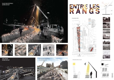 Press kit | 562-28 - Press release | Luminothérapie competition: finalists announced - Bureau du design - Ville de Montréal - Competition -  Kanva, in collaboration with Udo Design, Côté Jardin, Boris Dempsey and Pierre Fournier<br>Entre les rangs