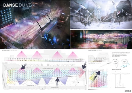 "Press kit | 562-28 - Press release | Luminothérapie competition: finalists announced - Bureau du design - Ville de Montréal - Competition -  Atelier CAPS, in collaboration with Thibaut Lefort, CS Design and RWDI<br>La danse du vent (""wind dance"")"