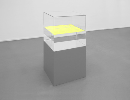 Dossier de presse | 873-01 - Communiqué de presse | Superbodies - The city of Hasselt - Évènement + Exposition - Ann Veronica Janssens Yelllow Yellow2010glass, paraffin oil, fluo serigraph, wooden base50 x 50 x 101 cmcourtesy Galerie Micheline Szwajcer