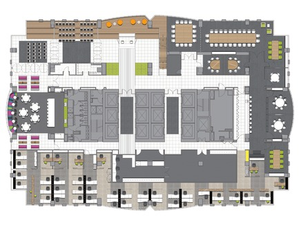 Dossier de presse | 865-02 - Communiqué de presse | Astral Media - Lemay - Design d'intérieur commercial - Plan de l'étage principal - Crédit photo : Lemay associés [architecture design]