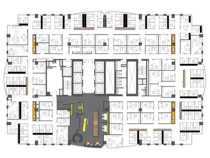 Dossier de presse | 865-02 - Communiqué de presse | Astral Media - Lemay - Design d'intérieur commercial - Plan de l'étage espace de bureaux fermés - Crédit photo : Lemay associés [architecture design]