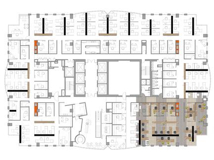 Dossier de presse | 865-02 - Communiqué de presse | Astral Media - Lemay - Design d'intérieur commercial - Plan de l'étage espaces ouverts - Crédit photo : Lemay associés [architecture design]