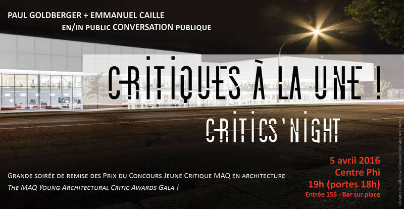 Newsroom - Press release - Critics Night - Maison de l'architecture du Québec