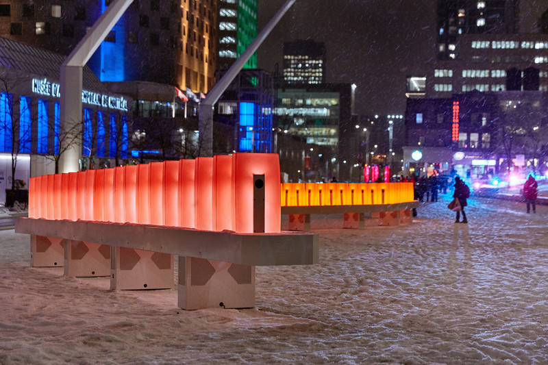 Dossier de presse - Communiqué de presse - Luminothérapie: domino effect is Brightening Up Place des Festivals This Winter - Quartier des Spectacles Partnership